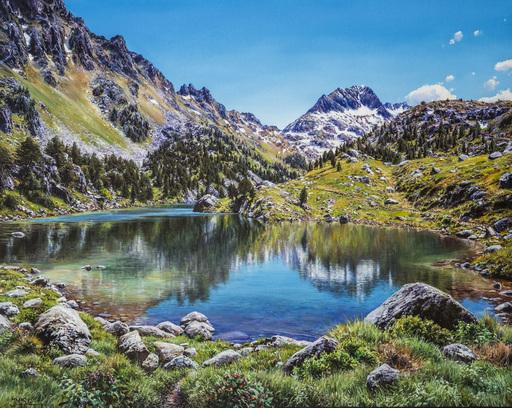 Josep M. SOLÀ - Pintura - Espejo en el lago Llonch. Valle de Aran