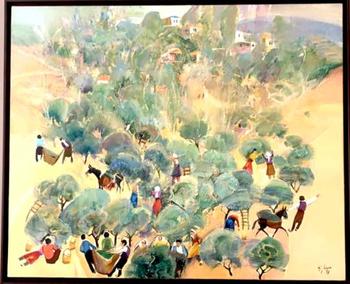 Hassan JOUNI - Pintura - Ceuillette des Olives - Olives Picking
