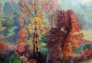 Armand POINT - Painting - Paysage d'automne, Auvergne Creuse.