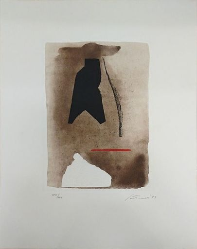 Giuseppe SANTOMASO - Druckgrafik-Multiple - Fond brun avec trait rouge