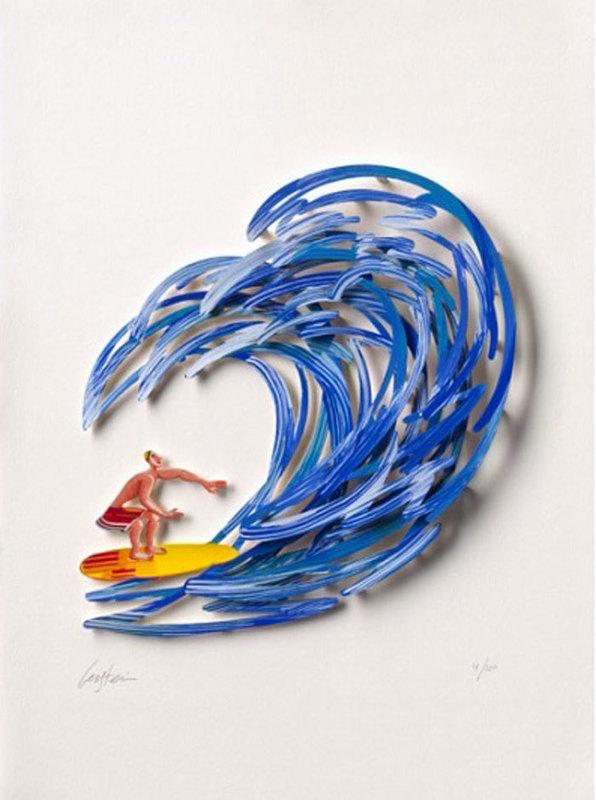 David GERSTEIN - Dibujo Acuarela - Surfer