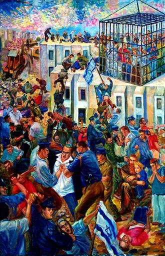 Victor BRINDATCH - Peinture - pogrom, destruction of the city of YAMITA