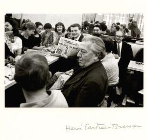 "Henri CARTIER-BRESSON - Photography - André Breton at the café ""The Promenade of Venus"", Paris."