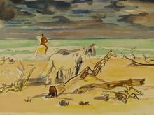 Yves BRAYER - Print-Multiple - Les chevaux sur la plage,1968.