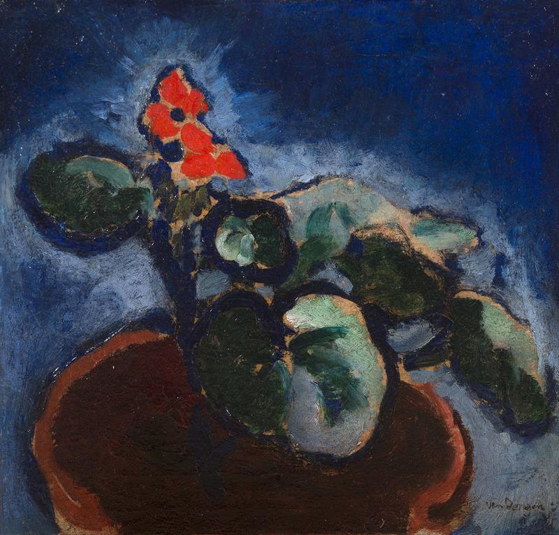 Kees VAN DONGEN - Pittura - Composition à la fleur rouge