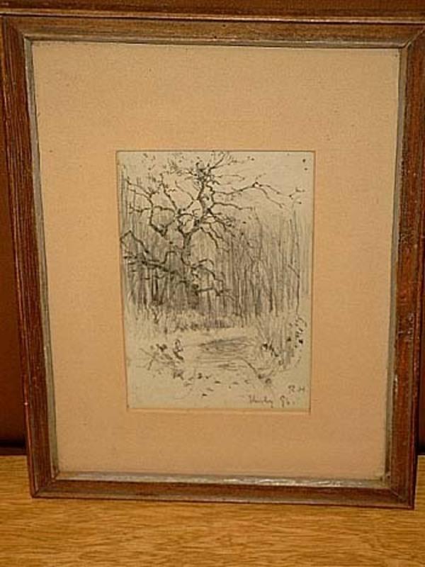 Rudolf HÖCKNER - Dessin-Aquarelle - Waldweg mit Baum