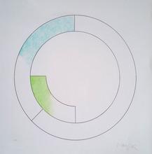 Gottfried HONEGGER - Grabado - Composition Cercles (bleu, vert)