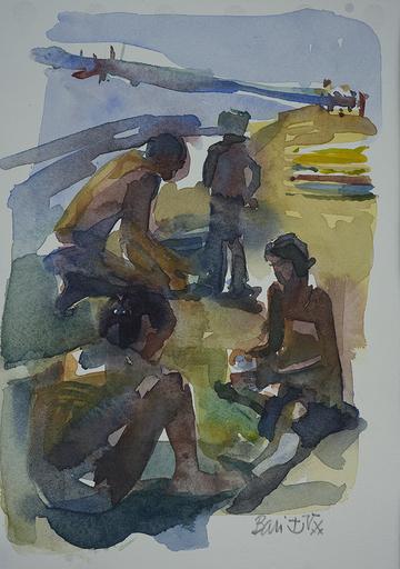 Eric BARI - Drawing-Watercolor - La plage