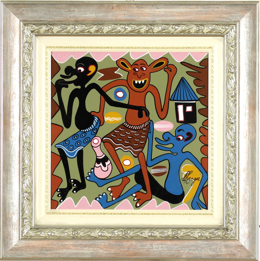George LILANGA - Painting - Mimi nakwe nda nyinyi kaenihapo mpaka jioni mkamatwe