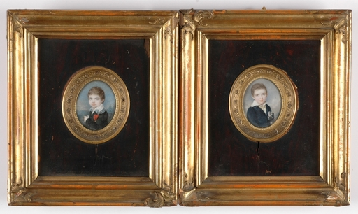 "Laurent A. GRÜNBAUM - Miniatura - ""Portraits of high noble boys"", Two Miniatures"