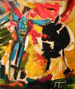 Claude LAUGIER - Peinture - CORRIDA