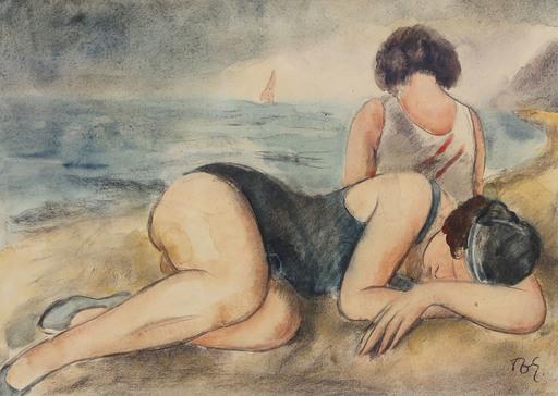 František Zdeněk EBERL - Dibujo Acuarela - Deux amies à la plage