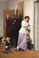 Eugène FEYEN - Pintura - Un Incedent Domestique