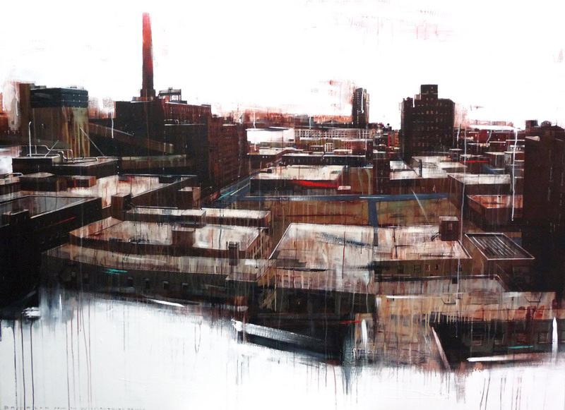 MO MAURICE TAN - Painting - Brooklyn from the Williamsburgbridge