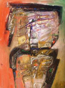 Raul Enmanuel POZO - Pintura - Formas en naranja y marron