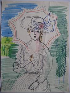 Max PAPART - Dessin-Aquarelle - DESSIN À L'ENCRE PASTEL 1956 SIGNÉ MAIN HANDSIGNED DRAWING