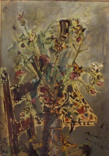 Filippo DE PISIS - Painting - Sedia con fiori e farfalle