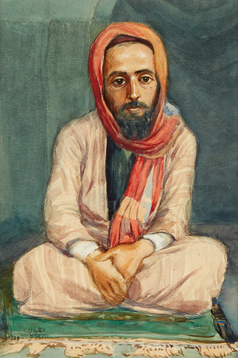 Aaron Shaul SCHUR - Dessin-Aquarelle - Seated Yemenite