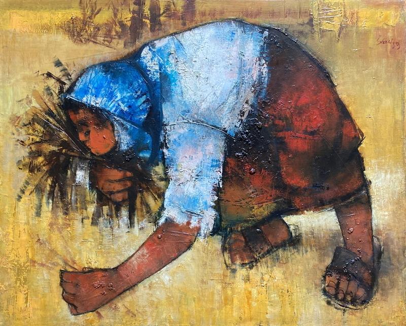 Serge SHART - Painting - La glaneuse