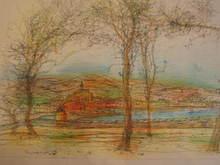 Jean CARZOU - Dibujo Acuarela - Le port et la baie,1971.