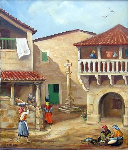 Carlos SOBRINO BUHIGAS - Pintura - PLAZA CON CRUCEIRO