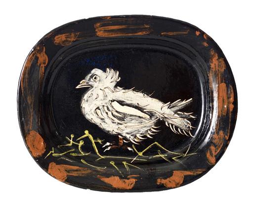 Pablo PICASSO - Ceramiche - Colombe sur lit de paille