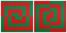 Véra MOLNAR - Painting - Demi-carrés concentriques