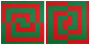 Véra MOLNAR - Pintura - Demi-carrés concentriques