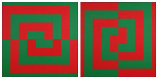 Véra MOLNAR - Pittura - Demi-carrés concentriques