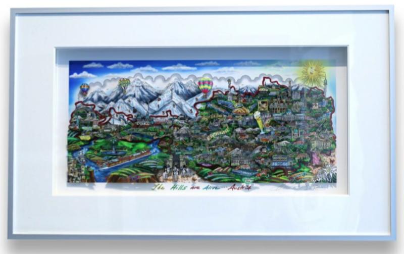 Charles FAZZINO - Druckgrafik-Multiple - The Hills Are Alive...Austria