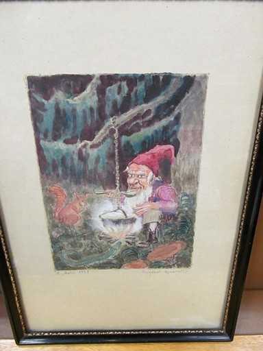 Margarete MOLL - Drawing-Watercolor - Zwerg im Wald