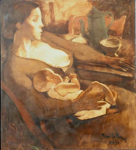 "René DE PAUW - Painting - ""FEMME DE MARIN, FEMME DE CHAGRIN"""