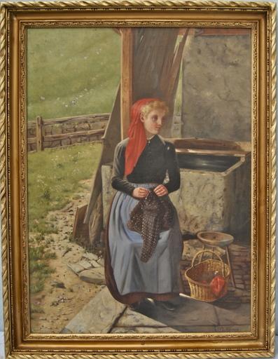 Paul-Aimé VALLOUY - Peinture - Jeune femme au foulard rouge. Suisse