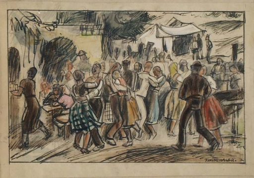 """Franz WINDHAGER - Dessin-Aquarelle - """"Village Fest"""" by Franz Windhager, ca 1925"""