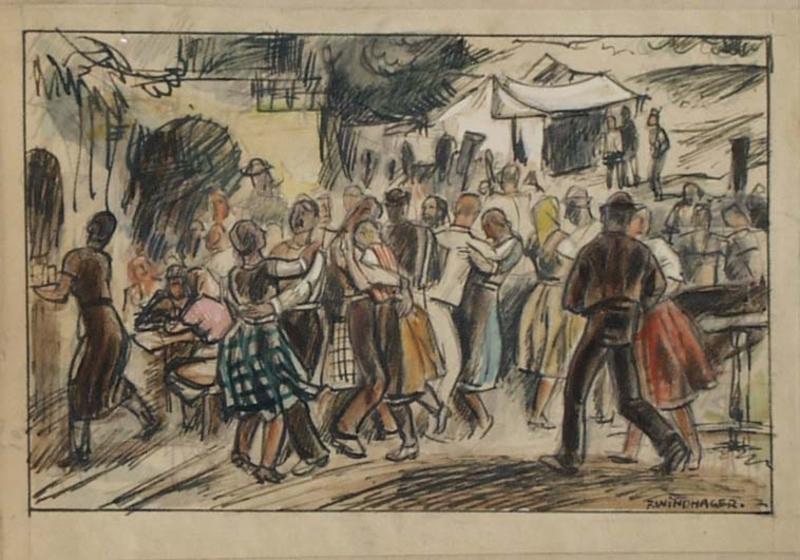 "Franz WINDHAGER - 水彩作品 - ""Village Fest"" by Franz Windhager, ca 1925"