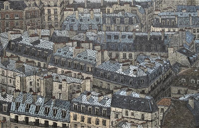 Olivier LAVOREL - Pittura - 1809 - Toits de Paris