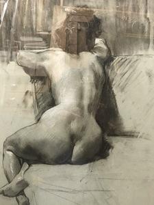 """Ulpiano CHECA Y SANZ - Drawing-Watercolor - """" Nu de femme  """" Desnudo femenino"""