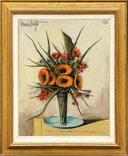 Bernard BUFFET - Peinture - Soucis et Fleurs Rouge