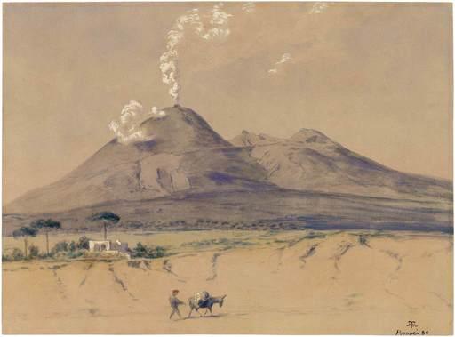 Hans THOMA - Drawing-Watercolor - Landschaft mit rauchendem Vesuv.
