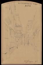 Telemaco SIGNORINI - Dibujo Acuarela - A VIEW OF NORTHUMBERLAND PLACE, BATH, 1881