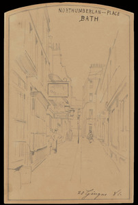 Telemaco SIGNORINI - Drawing-Watercolor - A VIEW OF NORTHUMBERLAND PLACE, BATH, 1881