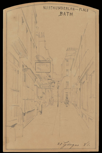 Telemaco SIGNORINI - Dessin-Aquarelle - A VIEW OF NORTHUMBERLAND PLACE, BATH, 1881