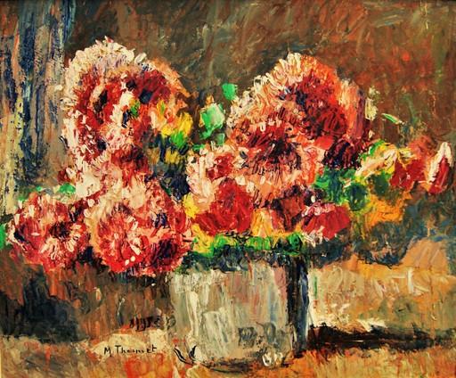 Max Robert THEYNET - Pintura - Bouquet de fleurs, pivoines rouge