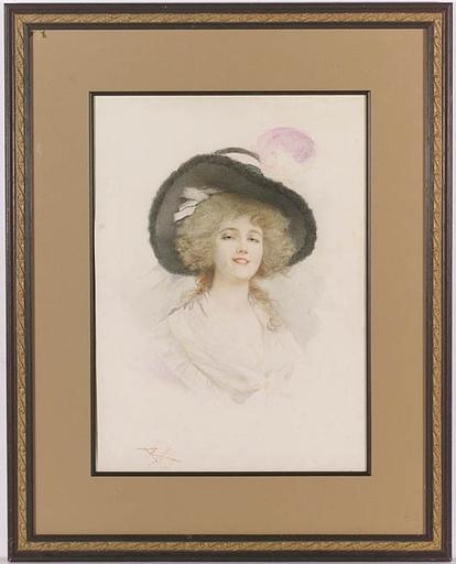 """Lucius ROSSI - Peinture - """"Portrait of a Lady"""" by Lucius (Lucio) Rossi, ca 1900"""