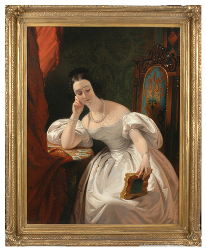 "Claude Marie DUBUFE - Painting - ""Jeune fille au portrait"", monumental oil painting, 1830s"