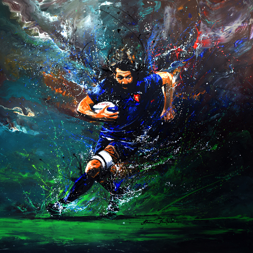 Rémi BERTOCHE - Painting - Rugby Player