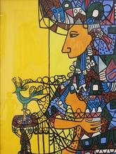 Cundo BERMUDEZ - Dibujo Acuarela - Figura De Mujer De Perfil