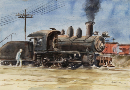 Reginald H. MARSH - Dibujo Acuarela - Locomotive