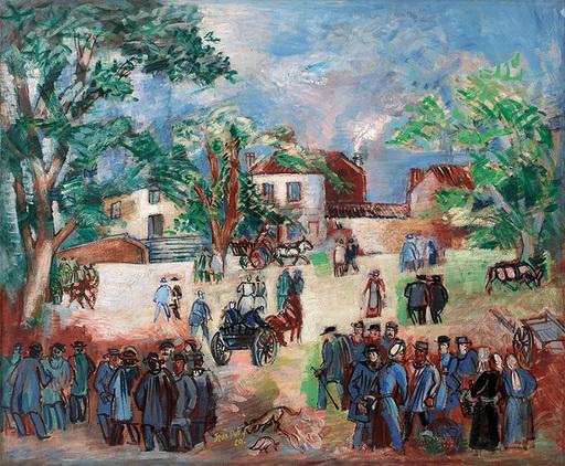 Jean DUFY - Peinture - Marché en Limousin