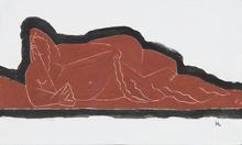 亨利· 劳伦斯 - 水彩作品 - Nu à l'éventail